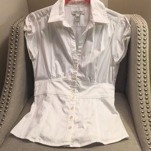 White t shirt button down blouse